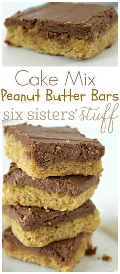 Easy cake mix Peanut Butter Bars recipe from So easy and delicious. (Christmas Mix Recipes) Easy cake mix Peanut Butter Bars recipe from So easy and delicious. Cake Mix Desserts, Cake Mix Recipes, Easy Desserts, Baking Recipes, Delicious Desserts, Dessert Recipes, Bar Recipes, Easy Dessert Bars, Cold Desserts