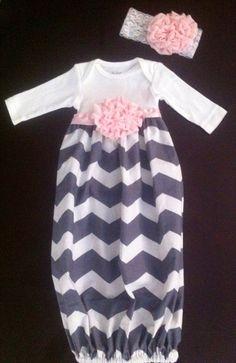 Baby girl chevron shabby chic gown/layette/sleep sack set on Etsy, $28.00