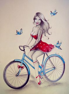Bike Girl .. By Anne Chá #vintage #tattoo #pinup