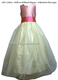 BUTTERCREME AND STRAWBERRY TULLE FLOWER GIRL DRESSES