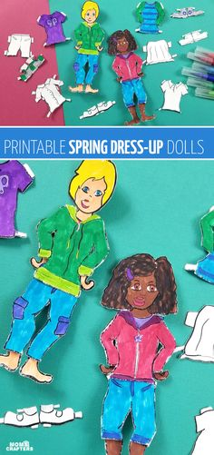 Click to download and print this paper doll template for Spring! These boy and girl dress up dolls are perfect for teaching about weather, seasons, and weather-appropriate clothing. Your kids will love these printable paper toys and dress up dolls craft. Credits: momsandcrafters.com