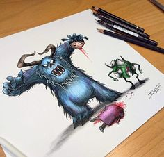 Sulley, Mike & Boo [all as monsters] (As Monsters by DinoTomic @Instagram)…