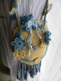 crossbody crocheted bag Hippie mood by JadAngel on Etsy