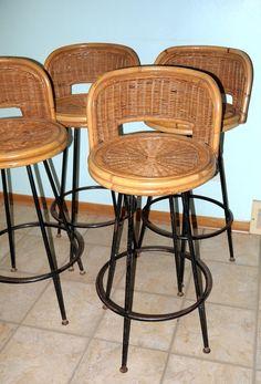 4 Vintage Swivel Bar Stool 50s 60s Mid Century Tropical Tiki Coastal Beach Counter Barstool Bamboo Rattan Cane Wicker
