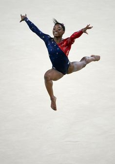 Simone Biles of the United States competes in the floor exercise during Women's qualification for Artistic Gymnastics on Day 2 of the…