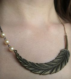 Brass Feather & Pearls Bib Necklace | Jewelry Necklaces | Oh Nostalgia! | Scoutmob Shoppe | Product Detail