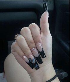 Long Square Acrylic Nails, Acrylic Nails Coffin Short, Pink Acrylic Nails, Edgy Nails, Grunge Nails, Stylish Nails, Bad Nails, Long Nails, Milky Nails