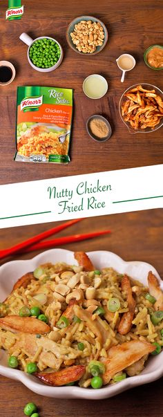 March is National Peanut Month! Kick it off with this delicious Nutty Chicken Fried Rice recipe. Heat oil in skillet over medium-high heat & cook chicken, stirring occasionally. Remove chicken. Stir water, peanut butter, vinegar, soy sauce & ginger into same skillet. Bring to a boil. Stir in Knorr® Rice Sides™ Chicken flavor. Cover & cook over medium heat, stirring occasionally, until rice is tender. Stir in chicken & peas; heat through.
