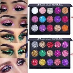 Beauty & Health 2019 New Shining Glitter Eyeshadow Sequins Cosmetics 14 Colorful Women Party Festival Face Eye Powder Makeup Eyes Shadow Blue Reliable Performance