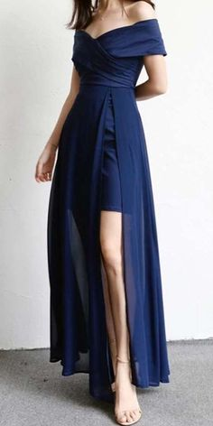 Navy Blue Off the Shoulder Evening Party Gowns, Split Slit Long Prom Dress - Source by - Women's Dresses, Cute Dresses, Dress Outfits, Fashion Dresses, Long Dresses, Dress Long, 50 Fashion, Dance Dresses, Fashion Styles