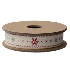 RIBBON CREAM WITH RED AND GREY SNOWFLAKES