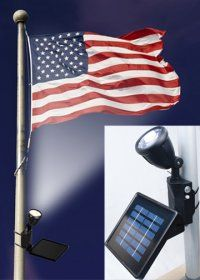 This solar light focuses light directly on the flag, illuminating it with pure white light. Great solution to properly light US flag, or the flag or your choice!
