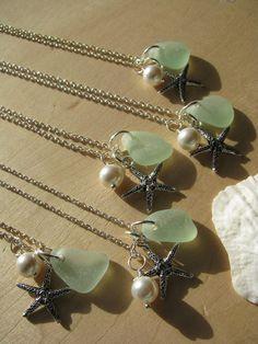 Wedding Jewelry One Sea Glass Jewelry Bridesmaid Jewelry Starfish Sea Glass Necklaces in Aqua, Mint Wedding Jewelry Beach Glass Jewelry $25