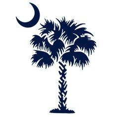 Palmetto tree south carolina flag crescent moon vinyl for Palmetto tree and moon tattoo