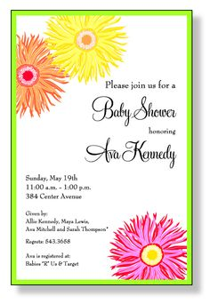 This flat invitation is classically beautiful with a simple thin green border, and three lovely different colored flowers.
