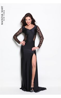 Atria Prom 2208 black long sleeves dress with side slip #polka dots