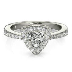 Forever Brilliant Moissanite Engagement Ring - Trillion Moissanite and Diamond Engagement Ring 14k White Gold - Engagement Rings for Women