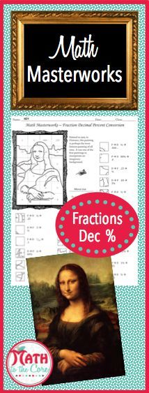 Fun fractions, decimal, and percent drawing activity for math students in 5th, 6th, 7th, 8th and 9th grade! Add an extra challenge by having students color in the final picture! The historic Mona Lisa is an exciting art history lesson as well as a math lesson!