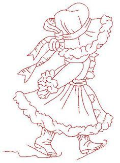 Hand Embroidery Patterns, Quilt Patterns, Sue Sunbonnet, Free Adult Coloring Pages, Winter Quilts, Applique, Projects To Try, Arts And Crafts, Sewing
