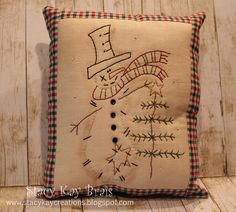 Handmade Primitive Christmas Pillow Snowman by ScrapbookingCottage,