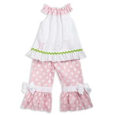 Girls White Seersucker Pink Dot Ruffle Neck Pant Set