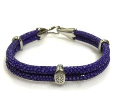 PURPLE STINGRAY BRACELET IN SILVER - S209/B | Dual Cord Hand-wrapped Genuine Stingray Leather | Three Sterling Silver accents and tail-hook clasp | Rare and Exotic looking | Beautiful high-end bracelet | #caerusgallery  #luxury  #exotic  #leather  #bracelet  #accessories #purple - www.caerusgallery.com