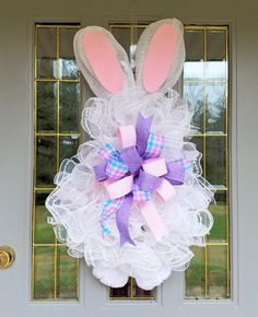 Easter Bunny Wreath, White Easter Wreath, Bunny Wreath, Rabbit Wreath, White Bunny Wreath, Easter Mesh Wreath, Mesh Easter Bunny Wreath