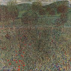 Gustav Klimt: Campo fiorito (1909) olio su tela 100,5x100,5. Stile: Art Nouveau. Periodo: Opere mature