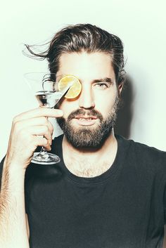 beard cocktail black shirt fashion men style tumblr party hair
