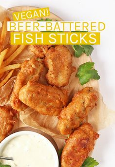 These Vegan Fish Sticks are made with shredded heart of palm dipped in a rich beer batter and served with vegan tartar sauce for an unbelievably good snack. #vegan #veganfish #vegansnacks #gameday
