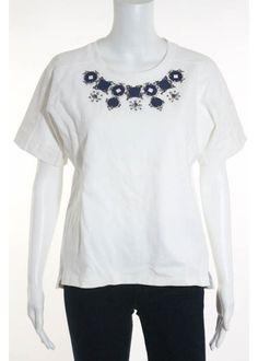 J CREW White Cotton Short Sleeve Jewel Embellished Blouse Sz S #JCrew #Blouse #Casual