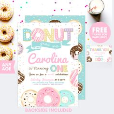 Editable Printable Birthday Party Invitations for donut inspired