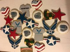 USAF cookies, off to boot camp, Air Force cookies, military cookies Military Retirement, Military Mom, Cut Out Cookies, Sugar Cookies, Cupcake Cakes, Cupcakes, Air Force Mom, Boot Camp, Cookie Jars