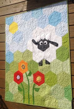 Mary Had a Little Lamb hexie quilt