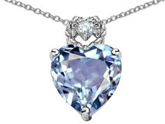 Star K Heart Rope Pendant Necklace with Simulated Aquamarine