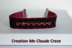 Bracelet en velours rouge et dentelle noire par CreationLaBoudeuse