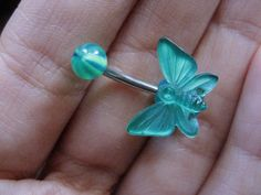 www.azeetadesigns.etsy.com Belly Button Jewelry- Green Butterfly Navel Ring Piercing Bar Barbell Stud