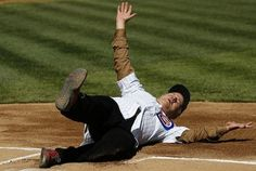 I love you BillMuray. Thursday, April in Chicago, Actor Bill Murray slides into home after rounding the bases before throwing the ceremonial first pitch at the Cub's opening day baseball game. Chicago Cubs Fans, Chicago Cubs World Series, Chicago Bears, Opening Day Baseball, Baseball Season, Best Baseball Games, Cubs Games, Cubs Win, Go Cubs Go