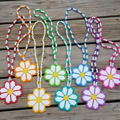 These kandi necklaces are made with rainbow, white pony beads and perler beads. Melty Bead Patterns, Kandi Patterns, Pearler Bead Patterns, Beading Patterns, Bracelet Patterns, Embroidery Patterns, Perler Bead Templates, Diy Perler Beads, Perler Bead Art