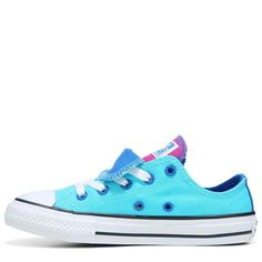 Converse Kids' Chuck Taylor All Star Double Tongue Low Top Sneakers (Fresh  Cyan/Soar/Whit)