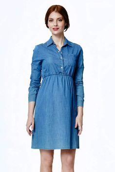 Jeans Shirtkleid Shirts, Shirt Dress, Casual, Dresses, Fashion, Long Sleeve Gown, Shirt Collars, Pregnancy, Gowns