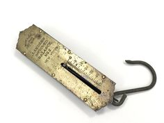 Antique Scale, Landers Improved Balance No 50 lbs Hanging Scale, circa Vintage Metal, Vintage Items, Old Scales, Hanging Scale, Sewing Trim, Metallic Thread, Photo Props, 1920s, Flaws