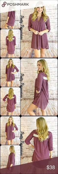 """NWT Burgundy Plaid Lace Up Shift Dress Tunic NWT Burgundy Plaid Lace Up Shift Dress Tunic  Available in S, M, L Measurements taken from a small  Length: 33"""" Bust: 34"""" Waist: 34""""  Features  • lace up front • lace crochet accent at back • 3/4 sleeves w/cuffed button detail • soft, breathable material  • relaxed, easy fit  Bundle discounts available No pp or trades  Item # 1/202130380PLUD plaid cream burgundy lace up Pretty Persuasions Tops Tunics"""