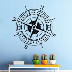 Wall Decal Compass Wind Rose Decals Bedrrom Art Decor Vinyl Sticker Murals AM3 #Stickalz #Nautical