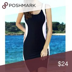 Sexy BLACK and WHITE Bodycon Dress Beautiful and flattering for all body types! Stretchy material with perfect shaping thanks to the white curved detail:) Fits true to size and hits about mid-thigh Dresses Mini