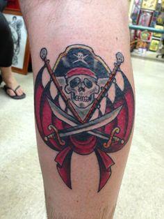 My husband's Pirates of the Caribbean tattoo. Disneyland