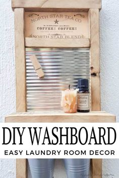 Isn't this antique washboard just too adorable. It's a great way to upcycle a tin can and add something special to your laundry room. #tincanupcycle #laundryroomdecor #acraftymix #DIYDecor #laundrystorage #tincanrepurpose #DIYWashboard Star Coffee, Coffee Tin, Laundry Storage, Laundry Room, Laundry Signs, Sign Stencils, Rustic Colors, Wood Glue, Diy Home Crafts