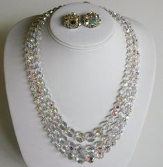 Vintage Borealis Crystal 3 Strand Graduated Necklace Earrings Set Silver Tone AB #NotSigned