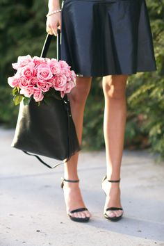 Black Skirt, Black Strappy Sandals, Black Bucket Bag with Pink Roses // classy