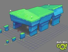 Concept art for the mobile game Angry Birds Go. Game Environment, Environment Concept Art, Environment Design, Game Design, Prop Design, Blender 3d, Low Poly Games, Game Textures, Isometric Art